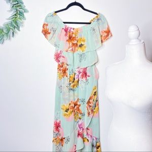 Express Off the Shoulder Floral Maxi Dress